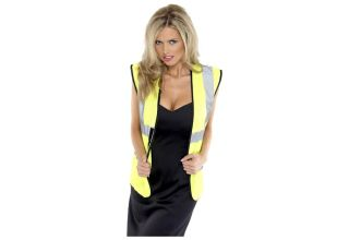 Belle blonde en Gilet de securite jaune